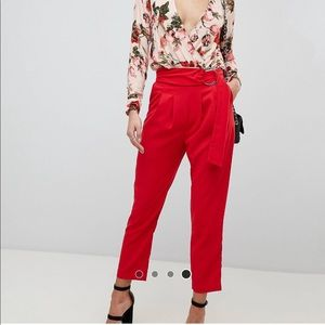 Red Tapered Pants with Ring Belt